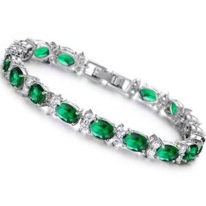 Jewelry - CZ Silver Green Tennis Bracelet | Coming_Soon